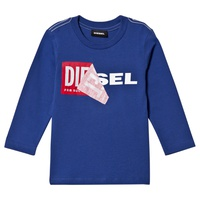 Diesel Blue Double Logo Applique Long Sleeve T-Shirt