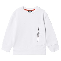 Diesel White Long Sleeve Multi Badge Print Sweatshirt