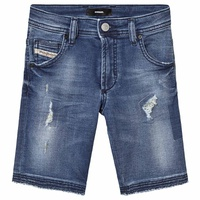 Diesel Blue Mid Wash Distressed Krooley Jog Denim Shorts