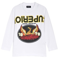 Diesel White Superior Print Long Sleeve T-Shirt