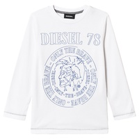 Diesel White Mohican Branded Long Sleeve T-Shirt