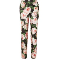 Dolce & Gabbana Floral-print silk-charmeuse tapered pants