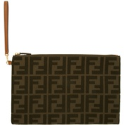 Green Canvas 'Forever Fendi' Embossed Pouch