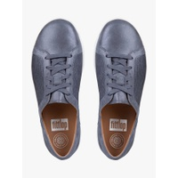 FitFlop F-Sporty Textured Metallic Lace Up Trainers, Midnight Navy Leather