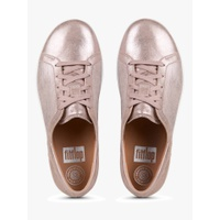 FitFlop F-Sporty Textured Metallic Lace Up Trainers, Taupe Leather