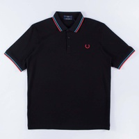 Fred Perry Made In Japan Pique Shirt Black/Neon Red/Neon Aqua