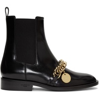 Black Chain Charm Chelsea Boots