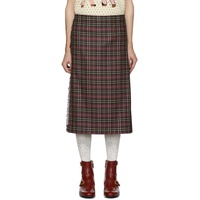 Burgundy & Black Wool Tartan Kilt Shorts