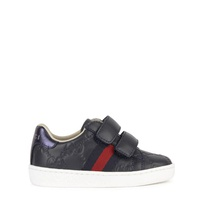 Gucci Monogram velcro leather sneakers - Bande Web