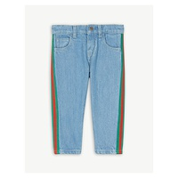 GUCCI Web striped cotton jeans 12-36 months