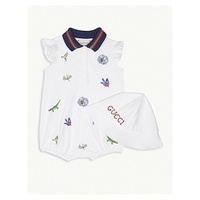 GUCCI Animal embroidery cotton-blend shortall and hat baby set 0-12 months