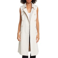 HELENE BERMAN Sleeveless Stretch Cotton Trench Coat