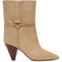 Beige Leather Lilet Ankle Boots