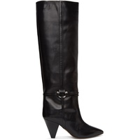 Black Leather Learl Tall Boots