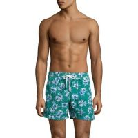 Isaia Floral-Print Swim Trunks