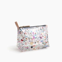 Vinyl makeup pouch with oversize glitter