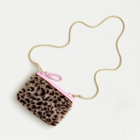 Girls' faux-fur pouch in cheetah print