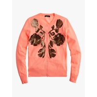 J.Crew Sequin Floral Embroidered Cardigan, Flame