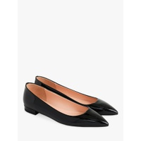 J.Crew Pointy Toe Flat Pumps, Black Leather, Black Leather