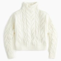 Jcrew Point Sur cropped cable-knit mockneck sweater