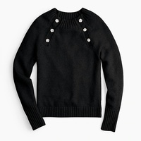 Jcrew Crewneck sweater with jeweled buttons