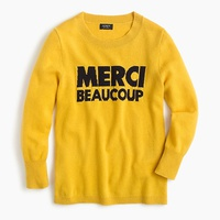 Jcrew Everyday cashmere crewneck sweater with Merci Beaucoup