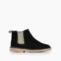 Jcrew Girls Childrenchic Chelsea boots in black suede with gold glitter