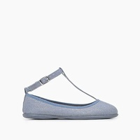 Jcrew Girls Childrenchic linen ankle T-band shoes in soft blue shimmer