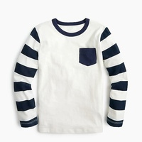 Jcrew Boys long-sleeve contrast-pocket T-shirt with striped sleeves