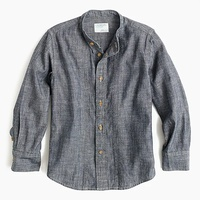 Jcrew Boys band-collar shirt in blue chambray