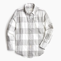 Jcrew Boys plaid button-down in crinkle cotton