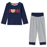 Joules Navy Roar Applique Long Sleeve Tee and Stripe Bottoms Set