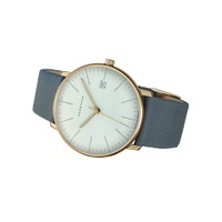 Junghans 041/4817.00 Unisex Max Bill Date Leather Strap Watch, Grey/White