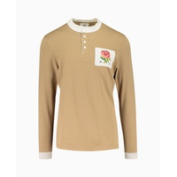 Kent & Curwen - Raw Edge Collar Rose Long Sleeve Rugby Polo - Beige