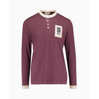 Kent & Curwen - Stokes 3 Lions Patch Long Sleeve Rugby Polo - Burgundy