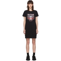 Black Classic Tiger Head T-Shirt Dress