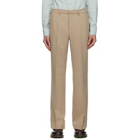 Beige Wool Flared Trousers