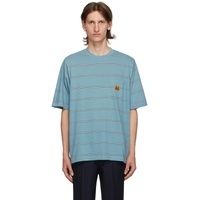Blue Seasonal Stripe Pocket T-Shirt