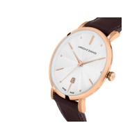 Larsson & Jennings Unisex Aurora Date Leather Strap Watch, Brown/White LGN38A-LRBRN-CSG-Q-P-RGW-O