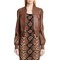 MICHAEL KORS Puff Sleeve Crop Leather Jacket
