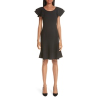 MICHAEL KORS Layered Flutter Sleeve Stretch Wool Crepe Dress