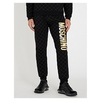 MOSCHINO Metallic logo-applique quilted skinny cotton-jersey jogging bottoms