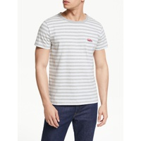 Maison Labiche Beach Buggy Embroidered Stripe T-Shirt, White/Heather