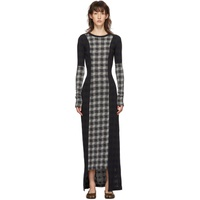 Navy & Grey Wool Check Patchwork Dress