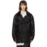 Black Quilted Glossy Nylon Jacket