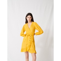 Maje Robe portefeuille jaune soleil A nouer