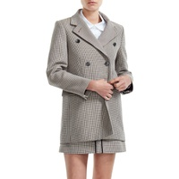 MAJE Goldi Houndstooth Check Double Breasted Jacket