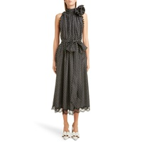 MARC JACOBS Belted Polka Dot Charmeuse Midi Dress