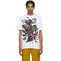 White & Multicolor Graphic T-Shirt