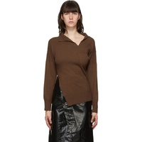 Brown Cashmere Twisted V-Neck Sweater